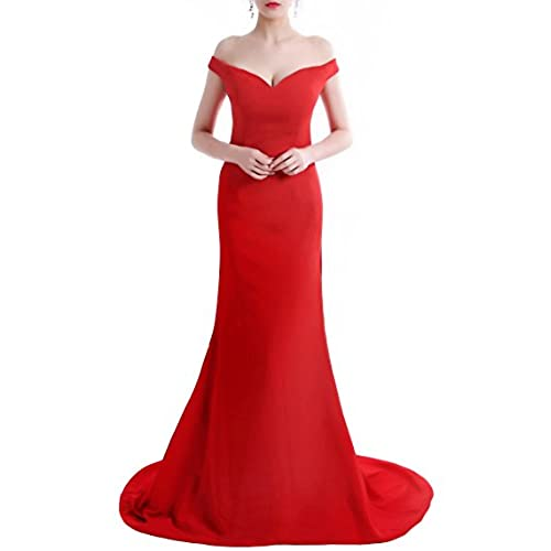 Wemarry Off the Shoulder Mermaid Evening Dress Long for Women Formal Gown Red Size 16