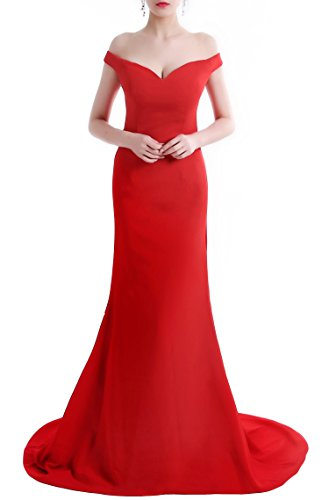 Wemarry Off the Shoulder Mermaid Evening Dress Long for Women Formal Gown Red Size 8