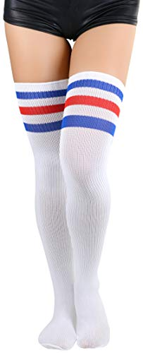 ToBeInStyle Women's Thigh Highs With Three Stripe Top - Red/White/Blue - One Size (Athletic Thigh Ribbed Highs)