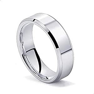 Men's 6 mm Tungsten Carbide Ring Polished Plain Comfort Fit Wedding