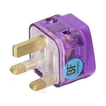 HIGH QUALITY AC POWER TRAVEL ADAPTER PLUG FOR UNITED KINGDOM UK ENGLAND IRELAND SCOTLAND MALAYSIA HONG KONG / WITH DUAL PLUG-IN PORTS AND SURGE PROTECTION / GROUNDED