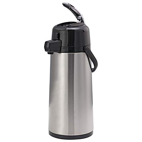 Service Ideas ECALS22SS Eco-Air Lever Lid Airpot, Stainless Vacuum, 2.4 Liter (81.1 oz.), Brushed Stainless/Black Accents
