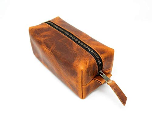 (Leather Dopp Kit, Men's Brown Leather Travel Kit, Monogrammed Toiletry Bag, Horween Leather Travel Case Made In The USA)