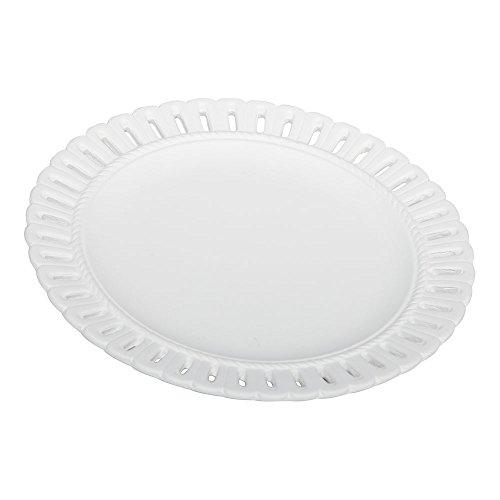 Ethan Allen White Pierced Edge Wall Plate - Medium Pierced Plate