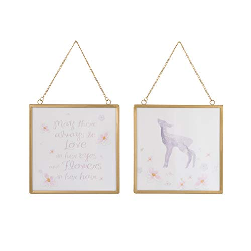 "NoJo Watercolor Deer 2 Piece Framed Nursery Wall Art with Deer, Flowers & Positive Message, Gold Pink/Grey/White, 8"" x 8"""