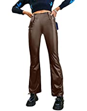 Faux Leather Pants for Women Y2k Straight Leg High Waisted Solid Color PU Legging Slim Fit Trousers Vintage Streetwear