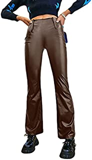 Faux Leather Pants for Women Y2k Straight Leg High Waisted Solid Color PU Legging Slim Fit Trousers Vintage St