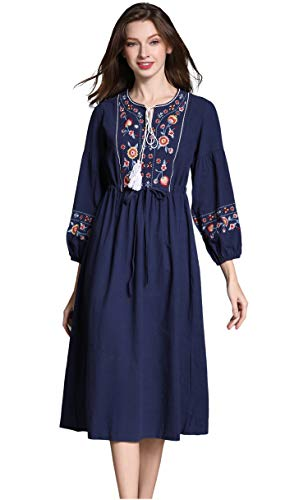 - Shineflow Womens Casual 3/4 Sleeve Floral Embroidered Mexican Peasant Dressy Tops Blouses Shirt Dress Tunic (S, Blue 2)