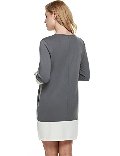 Beyove Block Sleeve Shift Patchwork Gray Women Color with Long Dress Casual Pockets qwXwO