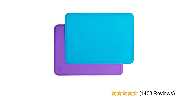 Munchkin Silicone Placemats for Kids 2 Pack Blue//Purple