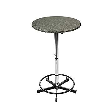 PrakTisch Table de bistrot Ronde réglable en Hauteur Noir ...