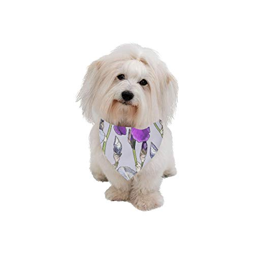 XINGCHENSS Pet Dog Cat Bandana Iris Hand Painted Vintage Spring Fashion Printing Bibs Triangle Head Scarfs Kerchief Accessories for Large Dog Pet Birthday Party Easter Gifts