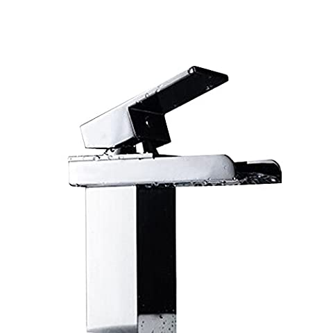 LightInTheBox Contemporary Centerset Waterfall with Ceramic Valve Single Handle One Hole for Chrome , Bathroom Sink Faucet with Extra Large Rectangular Spout Chrome Lavatory Widespread Mixer Taps