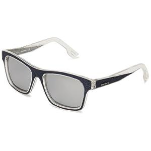 Diesel DL00715527C Wayfarer Sunglasses,Shiny Cristal Front & Blue Denim Insert,55 mm