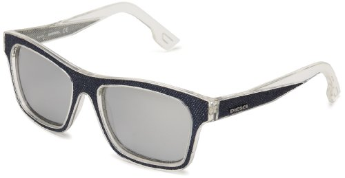 Diesel DL00715527C Wayfarer Sunglasses,Shiny Cristal Front & Blue Denim Insert,55 - Mens Sunglasses Diesel