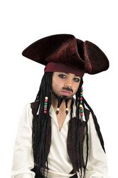 Jack Sparrow Costume Captain Kids For (Disney Pirates of The Caribbean Original Deluxe Hat With Beaded Braids Costume Accessory, One Size)