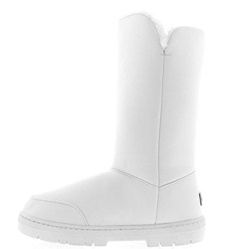 De Blanco Lluvia Botón Clásico Zapato 3 Piel Invierno Forrada Cuero Nieve Bota Mujer POFYZUwqU