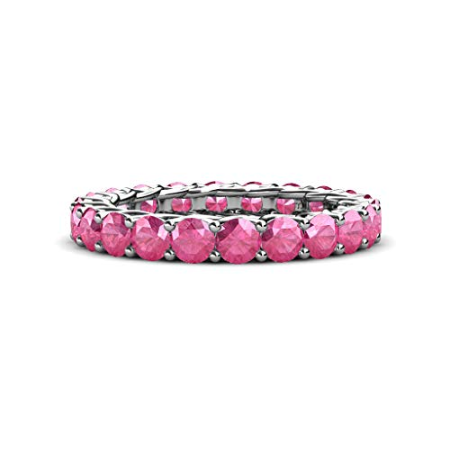 Gallery Pink Tourmaline - Pink Tourmaline 3.4mm Gallery Eternity Band 2.66 Carat tw to 3.08 Carat tw in 14K White Gold.size 6.0
