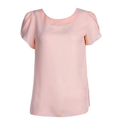 La Cabina T-shirt Blouse Femme Demi-Manches & Col Rond Solide Couleur Tops Slim Fit et Grande Taille