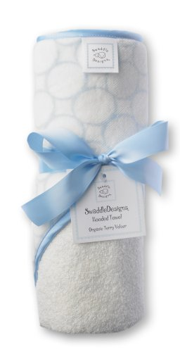 SwaddleDesigns Organic Cotton Terry Velour Hooded Towel, Pastel Blue Mod Circles