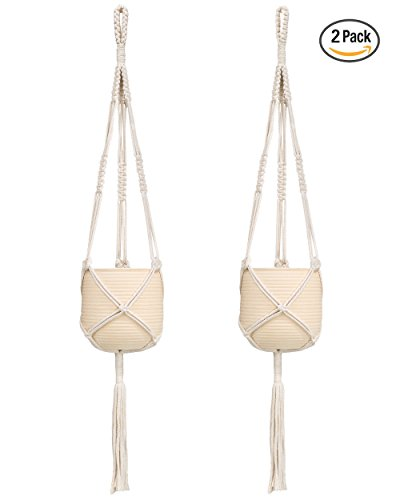 Mkono 2 Pcs Macrame Plant Hanger Indoor Outdoor Hanging Planter Basket Cotton Rope 3 Legs 39 Inch (Macrame Basket)