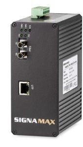 10/100 to 100FX Industrial Hardened Media Converter ST Multimode 2 km Span 24 V DC Redundant Power Terminal Block