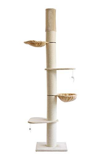 Clamaro XXL Katzenbäume (grau od. beige) deckenhoch höhenverstellbar mit Deckenspanner, Katzen Kratzbaum extra groß mit…
