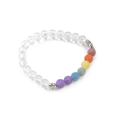 - 7 Chakra Agate Stone Beaded Bracelet Mala Yoga Energy Charm Bracelet Jewelry