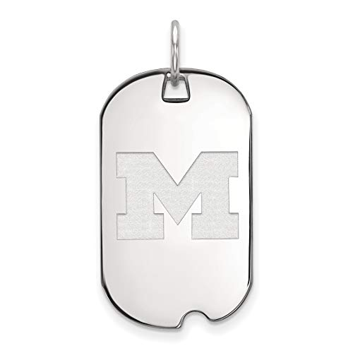 Michigan Wolverines School Letter Logo Dog Tag Pendant in Sterling Silver 30x18mm