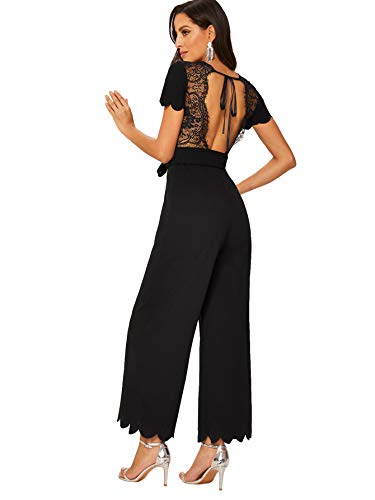 ROMWE Women's Sexy Short Sleeve Scalloped Lace Trim Backless Belted High Waist Long Jumpsuit Black M