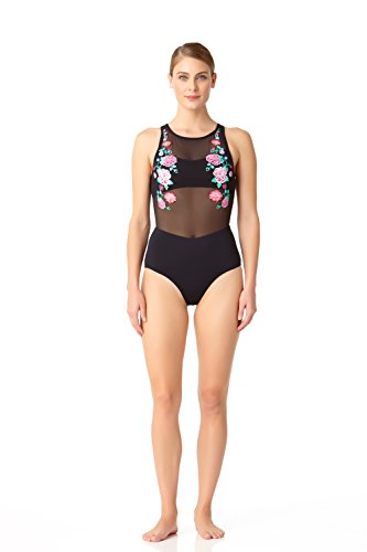 Mesh Noir Embroidered Anne Swimsuit Pièce Sexy Maillot Femme De Piece High 1 Neck Cole Floral Bain One tqwAIBrawn