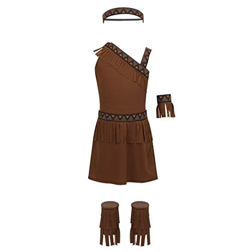 MSemis Little Girls Native American Indian Costume Princess Tassel Fringed Dress Carnival Halloween Outfitt Brown 5-6]()