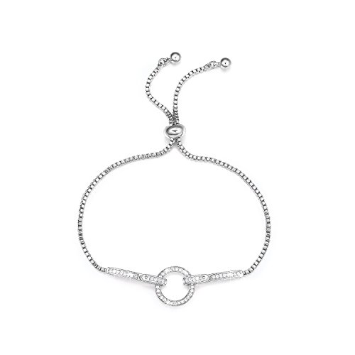DIFINES We are One Belt Shape CZ Diamond 18k White Gold Plated Adjustable Chain Bracelets for Women jewelry