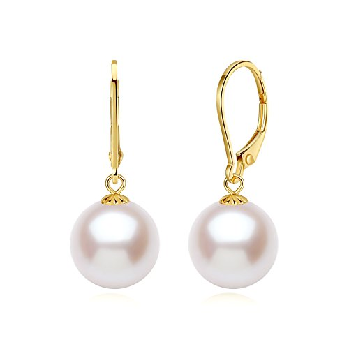 18K Yellow Gold Earring Freshwater Cultured White Round Pearl Dangle Earrings 10mm by PORTWORLD