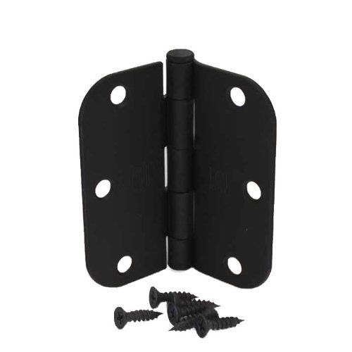 "(Pack of 50) 3 1/2 Inch Matte Black Door Hinges with 5/8"" Radius Corners"