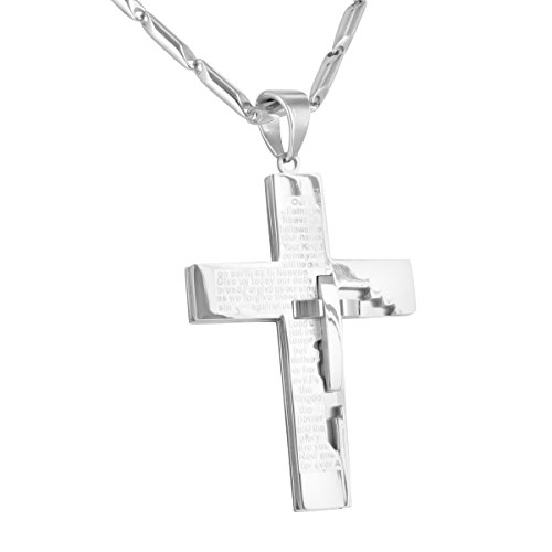 Master Of Bling Cross Pendant Free Necklace 14K White Gold Finish Stainless Steel Bible Verses