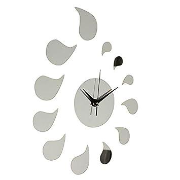 3d DIY agua ottomanbrim forma reloj de pared adhesivo decorativo para pared decoración del hogar: Amazon.es: Hogar