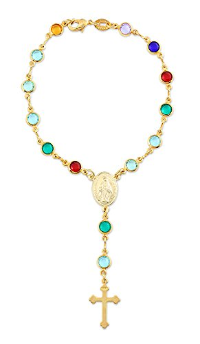 Gold Plated Rosary Decade Bracelet with Colored Glass Crystal Beads, Made in Brazil