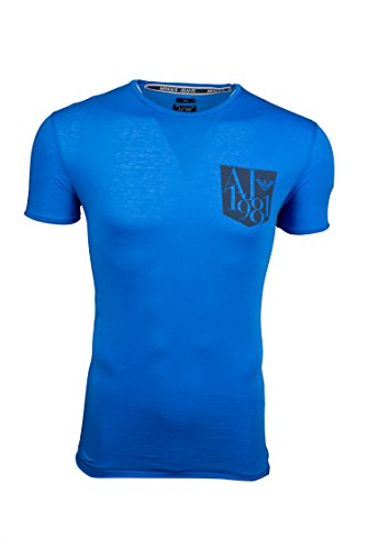 Armani Jeans Mens Short Sleeve Printed T-shirt - Blue (XL) (Armani Jeans Short Sleeve T-shirt)