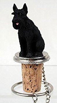 Giant Black Schnauzer Dog Wine Bottle Stopper - DTB58B