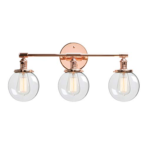 Glass Vintage Copper Wall Fixture - Phansthy Vintage Industrial Wall Sconce 3 Light Wall Lamp with Three 5.6 Inches Globe Glass Canopy (Copper)