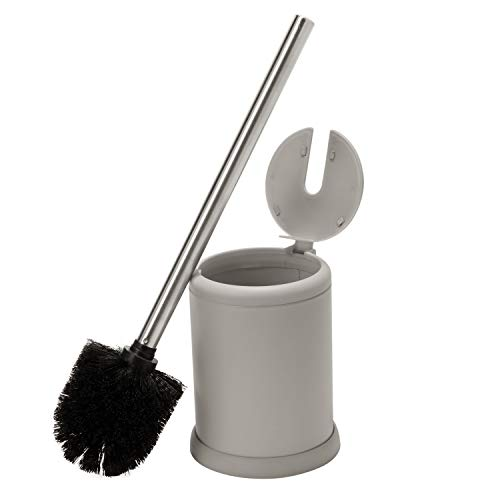 Bath Bliss Toilet Brush with Self Closing Lid, Durable & Strong Bristles, Long Lasting, Decorative, Grey - Self Closing Lid