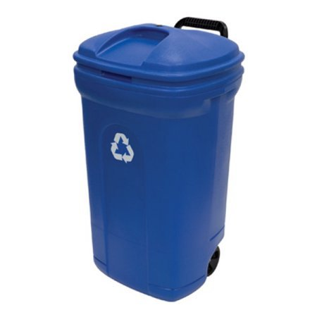 United Solutions 34-Gallon Wheeled Rectangular Blow Molded Trash Can, Recycling Blue (1) by United Solutions (Image #1)
