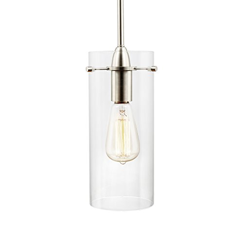 Light Society Montreal Cylindrical Pendant Light, Satin Nickel with Clear Glass Shade, Contemporary Minimalist Modern Lighting Fixture (LS-C237-SN-CL)
