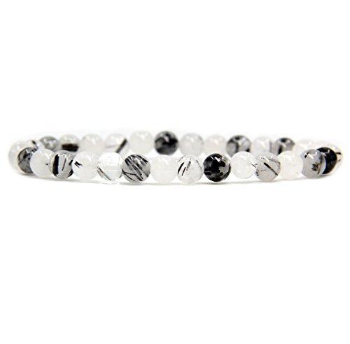 Natural Black Rutilated Quartz Gemstone 6mm Round Beads Stretch Bracelet 7