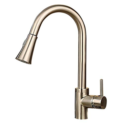 Naladoo Kitchen Tap Brushed Kitchen Faucet Pull Out Sprayer Single Hole Swivel Sink Mixer Tap for Twin Drainer Sinks ()