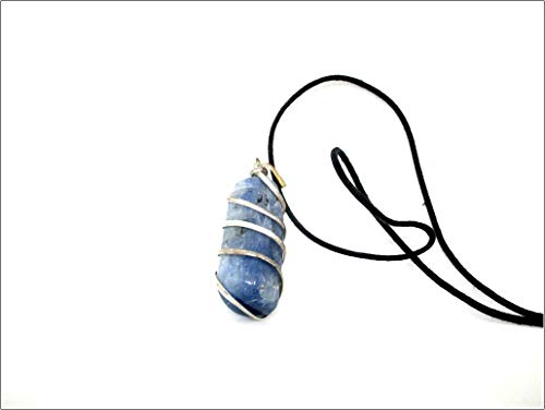 M'VIR Natural Wire Wrapped Blue Kyanite Pendant Necklace Chakra Balancing Healing Crystal Therapy