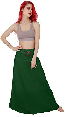 Billy's Thai Shop Cotton Maxi Skirt Boho Hippie Elastic Waist Skirt For Women (Green) ()