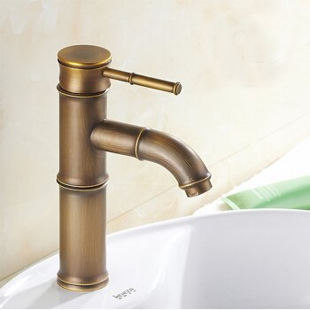Bend the Section 2. Hlluya Professional Sink Mixer Tap Kitchen Faucet The Antique brass faucet antique bamboo single hole basin mixer basin bench pots of hot and cold taps, the opening section 3.