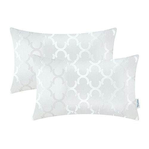 CaliTime Pack of 2 Cushion Covers Bolster Pillow Cases Shells for Home Sofa Couch Modern Shining & Dull Contrast Quatrefoil Accent Geometric 12 X 20 Inches White ()